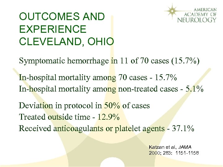 OUTCOMES AND EXPERIENCE CLEVELAND, OHIO Symptomatic hemorrhage in 11 of 70 cases (15. 7%)