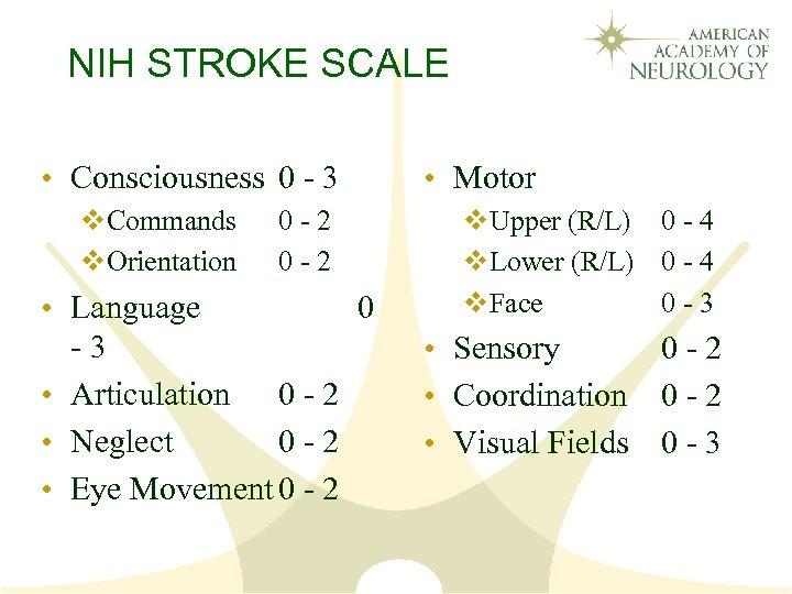NIH STROKE SCALE • Consciousness 0 - 3 v. Commands v. Orientation 0 -
