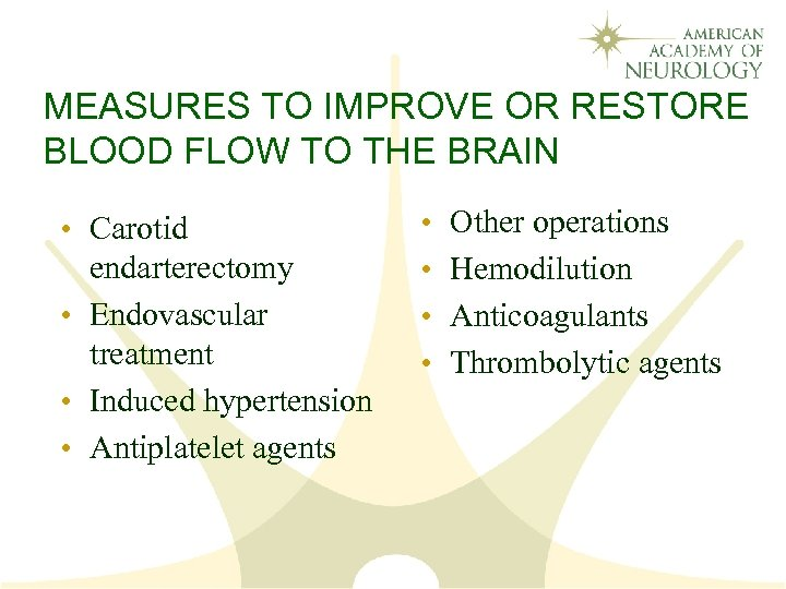 MEASURES TO IMPROVE OR RESTORE BLOOD FLOW TO THE BRAIN • Carotid endarterectomy •
