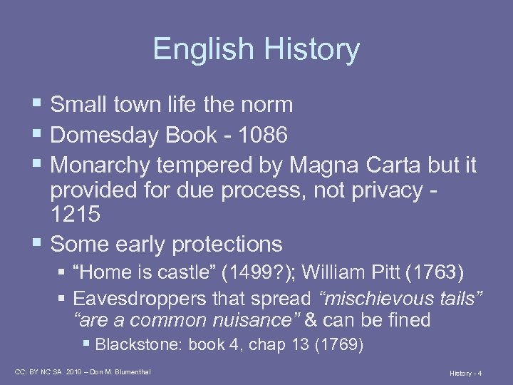 English History § Small town life the norm § Domesday Book - 1086 §