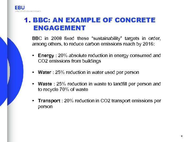 """1. BBC: AN EXAMPLE OF CONCRETE ENGAGEMENT BBC in 2008 fixed these """"sustainability"""" targets"""