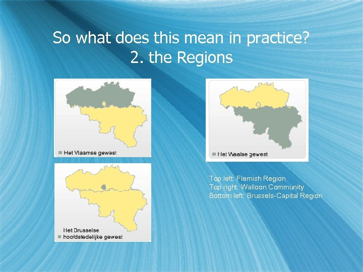 So what does this mean in practice? 2. the Regions Top left: Flemish Region