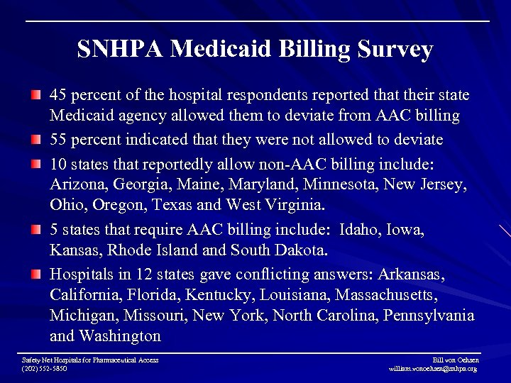 SNHPA Medicaid Billing Survey 45 percent of the hospital respondents reported that their state