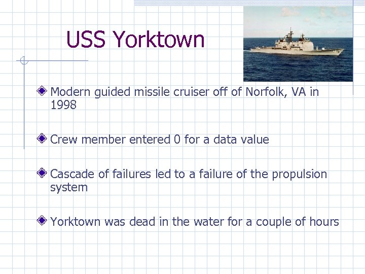 USS Yorktown Modern guided missile cruiser off of Norfolk, VA in 1998 Crew member