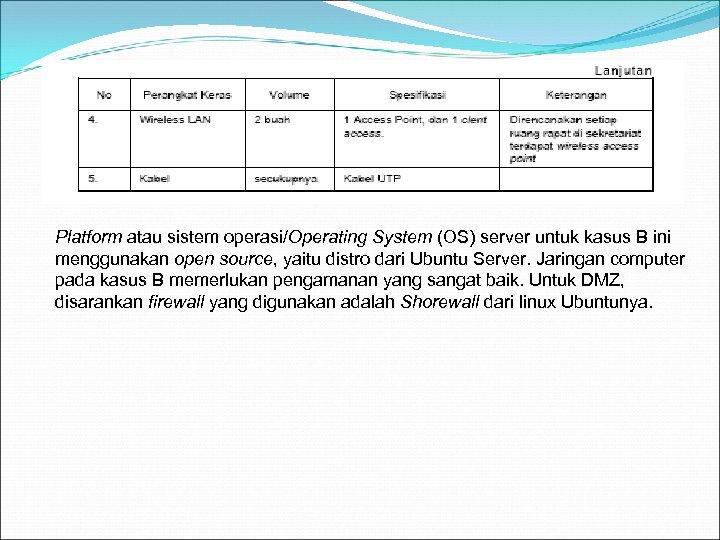 Platform atau sistem operasi/Operating System (OS) server untuk kasus B ini menggunakan open source,