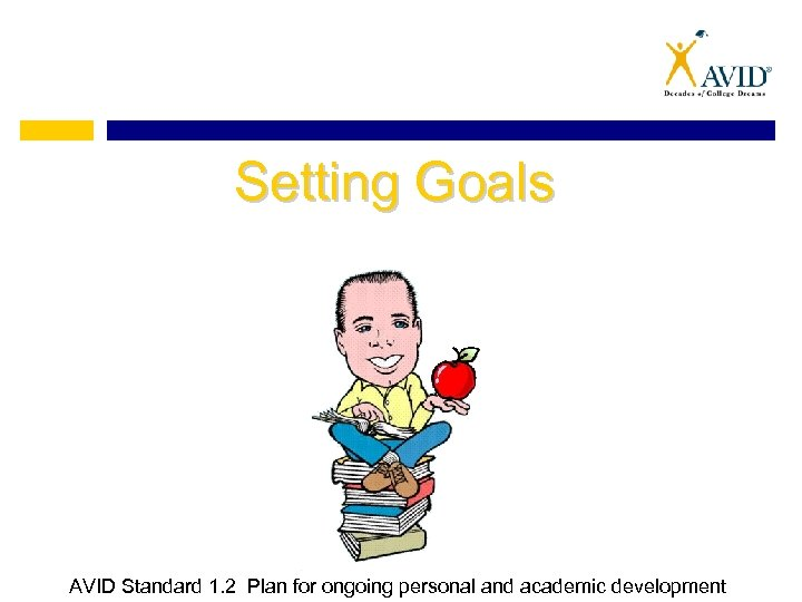 Setting Goals AVID Standard 1. 2 Plan for ongoing personal and academic development
