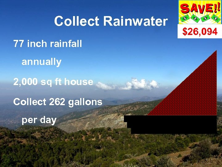 Collect Rainwater 77 inch rainfall annually 2, 000 sq ft house Collect 262 gallons