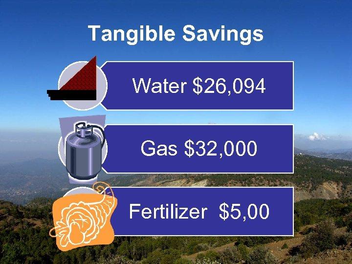 Tangible Savings Water $26, 094 Gas $32, 000 Fertilizer $5, 00