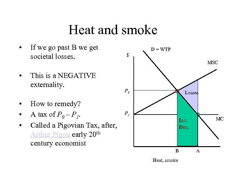 Heat and smoke • • • If we go past B we get societal
