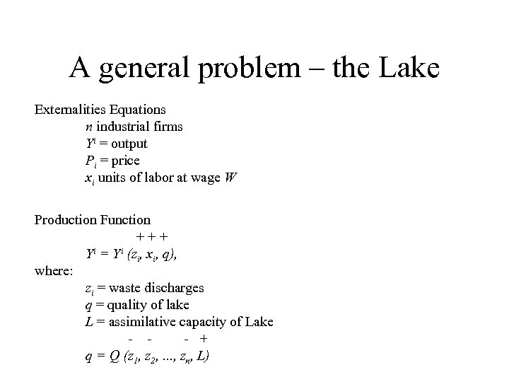 A general problem – the Lake Externalities Equations n industrial firms Yi = output