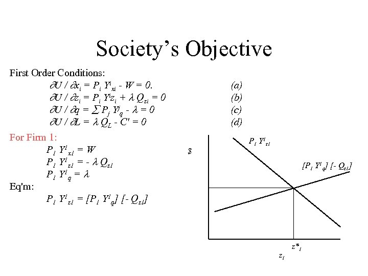Society's Objective First Order Conditions: U / xi = Pi Yixi - W =