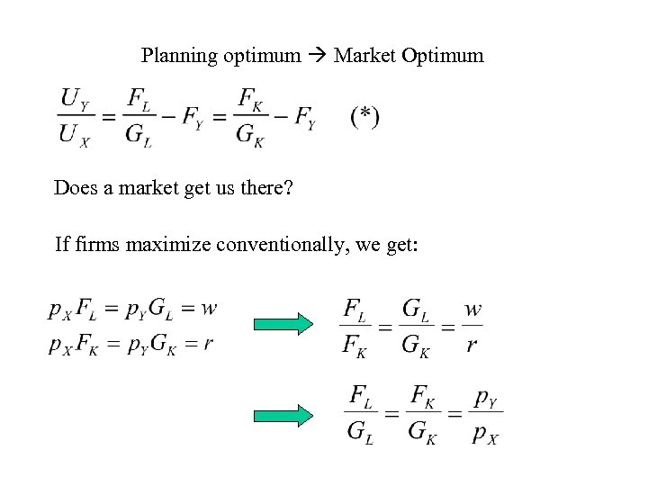 Planning optimum Market Optimum Does a market get us there? If firms maximize conventionally,