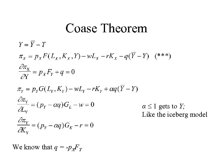 Coase Theorem α 1 gets to Y; Like the iceberg model We know that