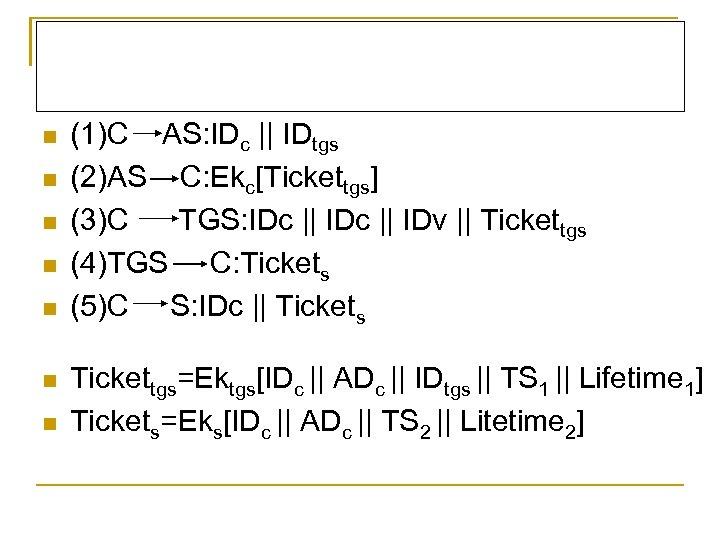 n n n n (1)C AS: IDc || IDtgs (2)AS C: Ekc[Tickettgs] (3)C TGS: