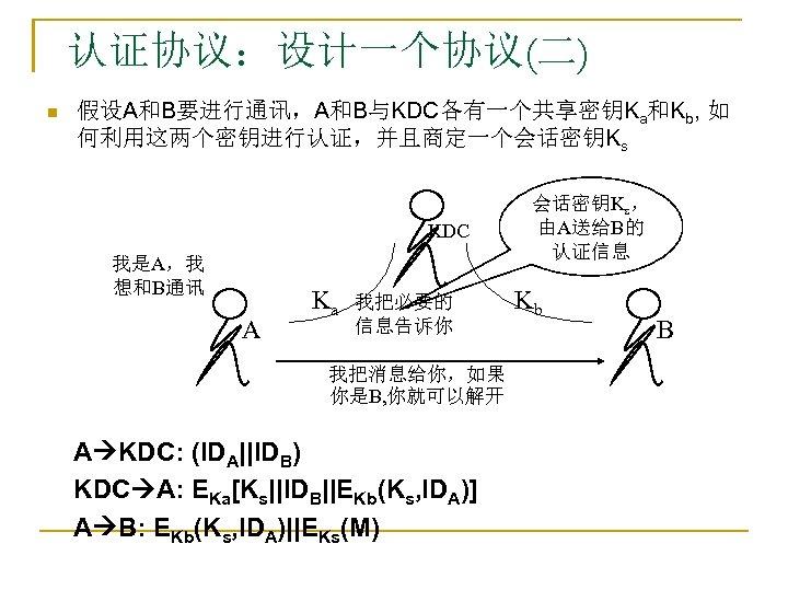 认证协议:设计一个协议(二) n 假设A和B要进行通讯,A和B与KDC各有一个共享密钥Ka和Kb, 如 何利用这两个密钥进行认证,并且商定一个会话密钥Ks KDC 我是A,我 想和B通讯 A Ka 我把必要的 信息告诉你 我把消息给你,如果 你是B,