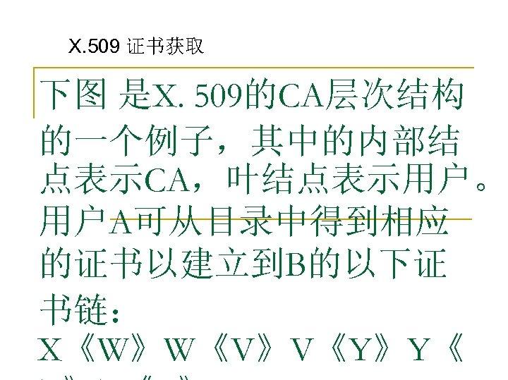 X. 509 证书获取 下图 是X. 509的CA层次结构 的一个例子,其中的内部结 点表示CA,叶结点表示用户。 用户A可从目录中得到相应 的证书以建立到B的以下证 书链: X《W》W《V》V《Y》Y《