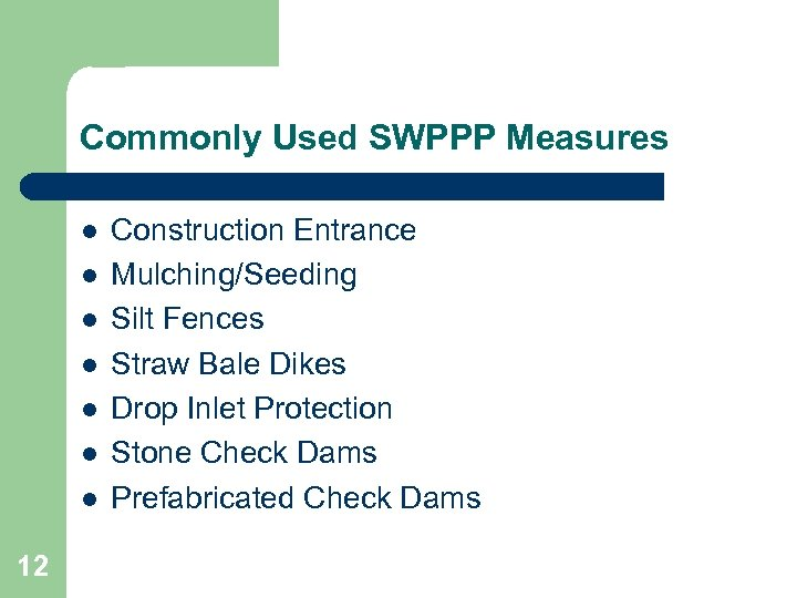 Commonly Used SWPPP Measures l l l l 12 Construction Entrance Mulching/Seeding Silt Fences