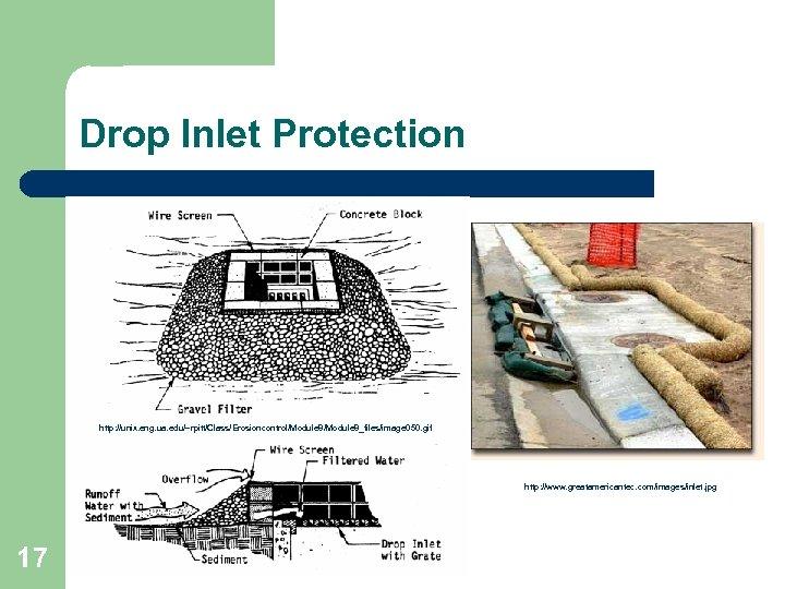 Drop Inlet Protection http: //unix. eng. ua. edu/~rpitt/Class/Erosioncontrol/Module 8_files/image 050. gif http: //www. greatamericantec.