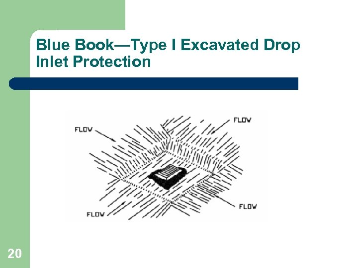 Blue Book—Type I Excavated Drop Inlet Protection 20