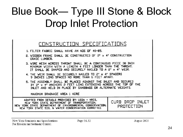 Blue Book— Type III Stone & Block Drop Inlet Protection 24