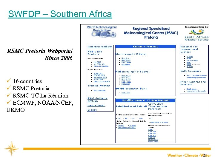 SWFDP – Southern Africa RSMC Pretoria Webportal Since 2006 ü 16 countries ü RSMC