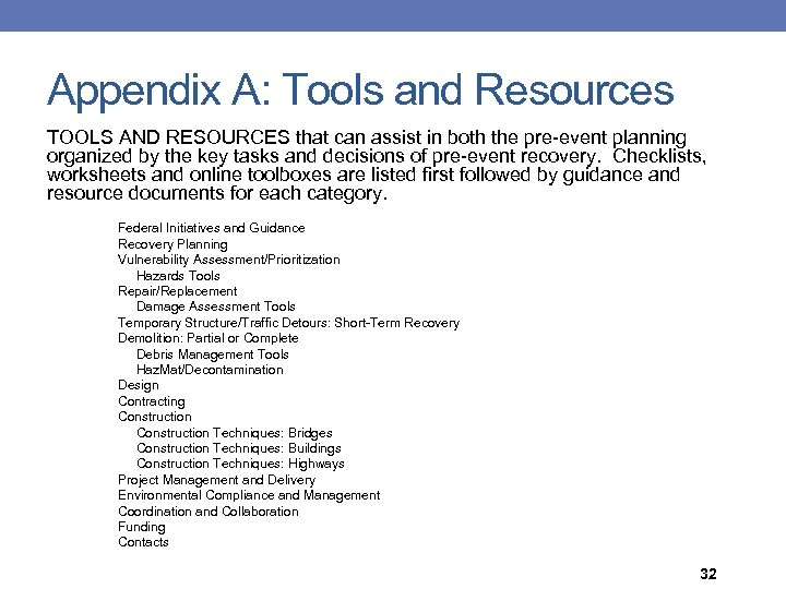 Appendix A: Tools and Resources TOOLS AND RESOURCES that can assist in both the
