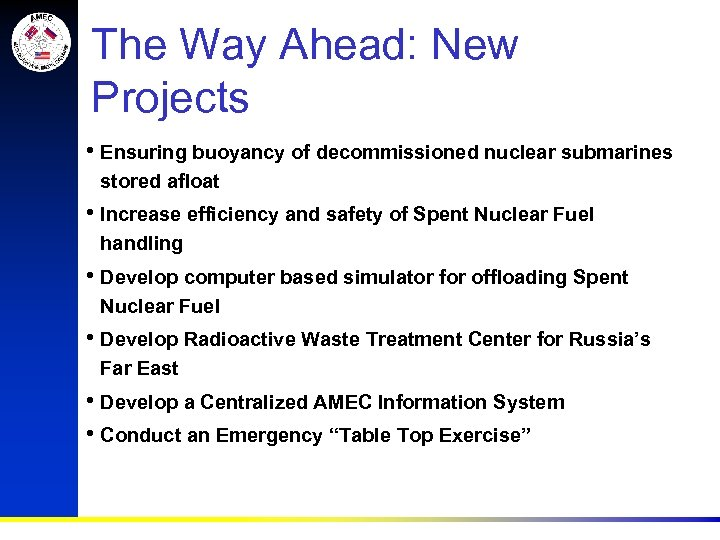 The Way Ahead: New Projects • Ensuring buoyancy of decommissioned nuclear submarines stored afloat