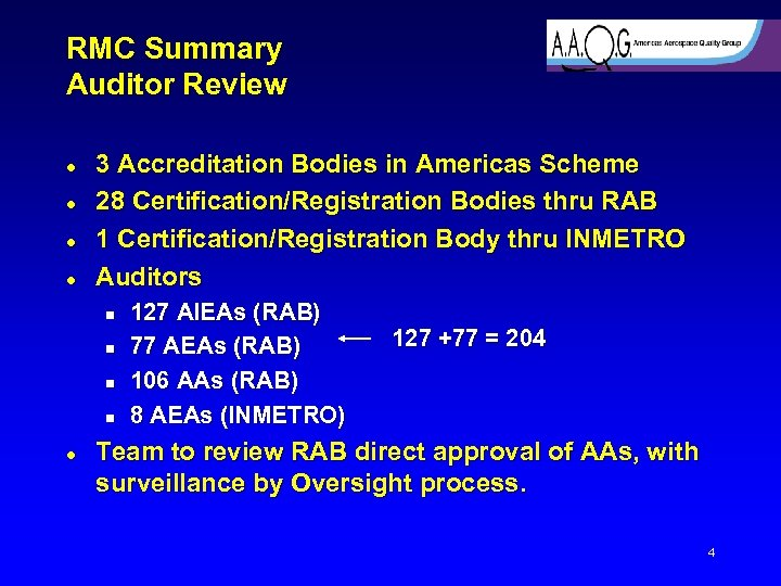 RMC Summary Auditor Review l l 3 Accreditation Bodies in Americas Scheme 28 Certification/Registration