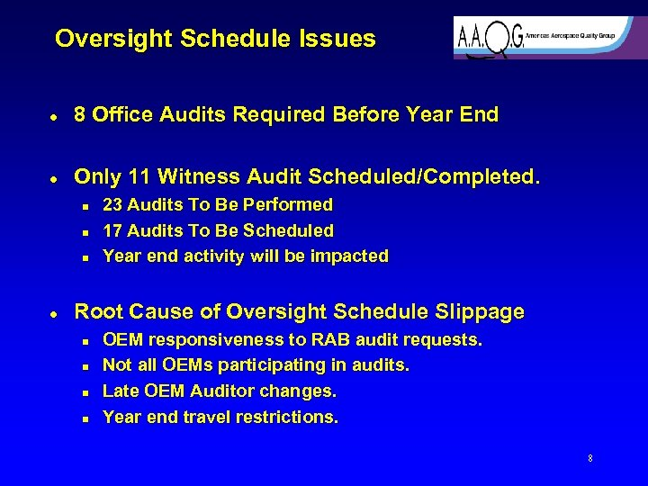 Oversight Schedule Issues l 8 Office Audits Required Before Year End l Only 11