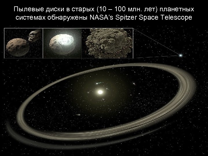 Пылевые диски в старых (10 – 100 млн. лет) планетных системах обнаружены NASA's Spitzer