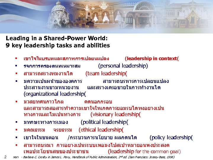 Leading in a Shared-Power World: 9 key leadership tasks and abilities § เขาใจในบรบทและสภาพการเปลยนแปลง §
