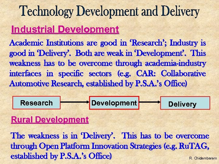 Industrial Development Academic Institutions are good in 'Research'; Industry is good in 'Delivery'. Both