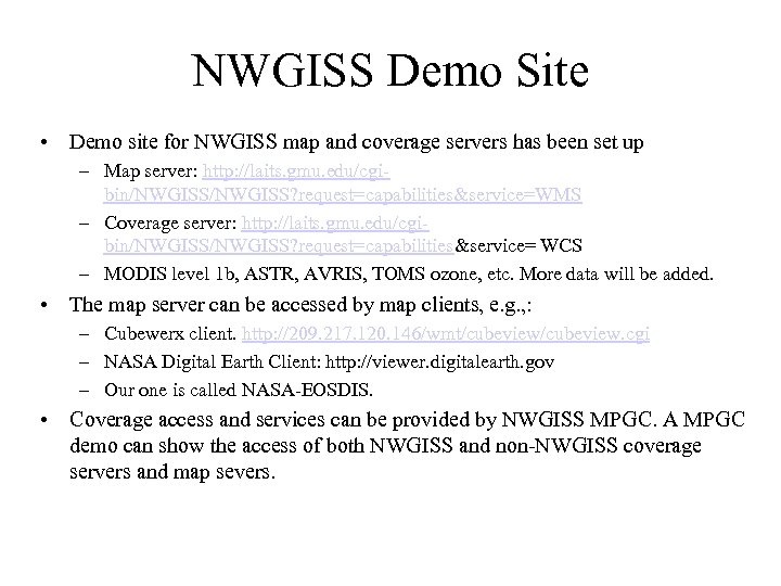 NWGISS Demo Site • Demo site for NWGISS map and coverage servers has been