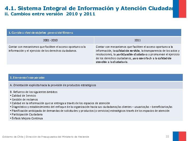 4. 1. Sistema Integral de Información y Atención Ciudadana ii. Cambios entre versión 2010