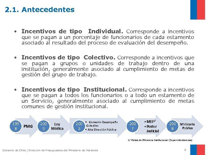 2. 1. Antecedentes • Incentivos de tipo Individual. Corresponde a incentivos que se pagan