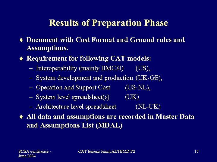 Results of Preparation Phase Document with Cost Format and Ground rules and Assumptions. Requirement