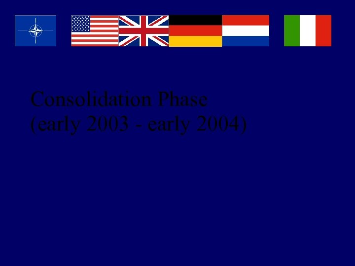 Consolidation Phase (early 2003 - early 2004)