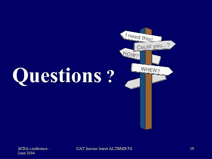 I need HOW Questions ? SCEA conference June 2004 CAT lessons learnt ALTBMD FS