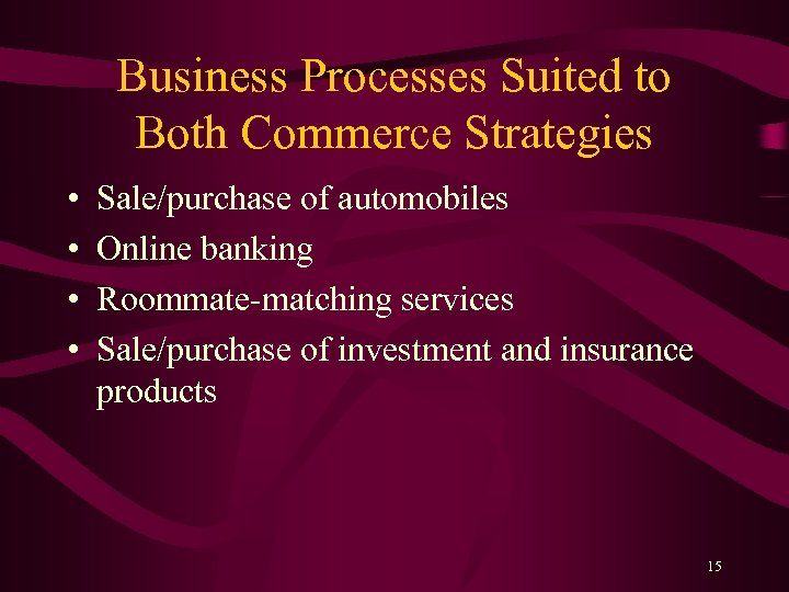 Business Processes Suited to Both Commerce Strategies • • Sale/purchase of automobiles Online banking