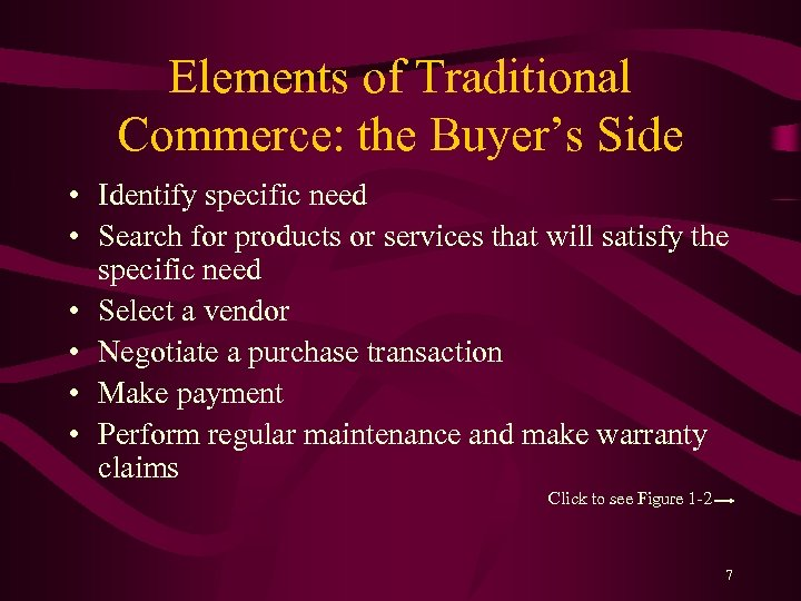 Elements of Traditional Commerce: the Buyer's Side • Identify specific need • Search for