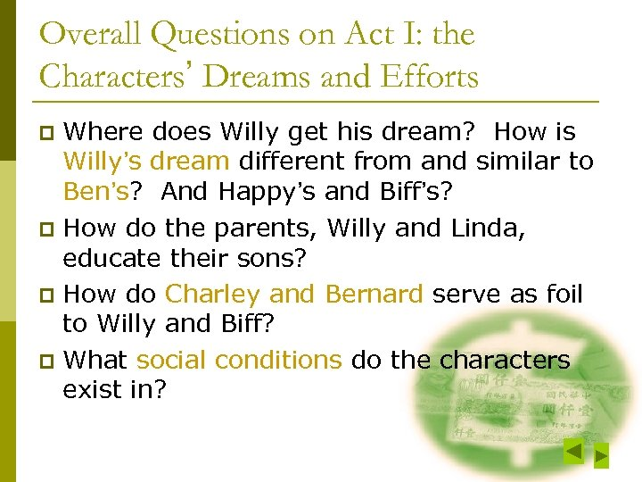 Overall Questions on Act I: the Characters' Dreams and Efforts Where does Willy get
