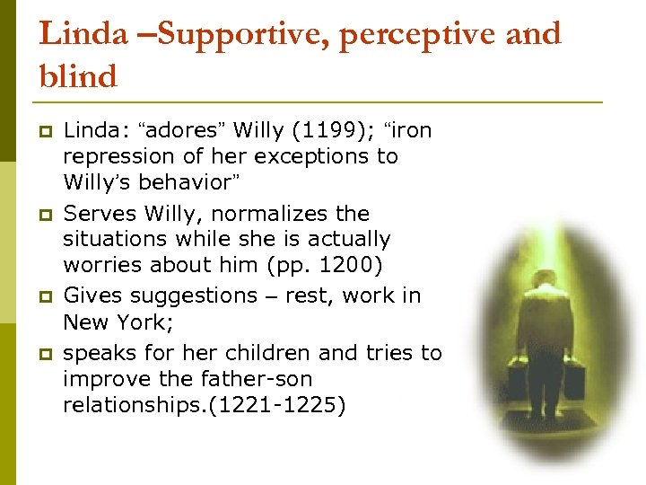 "Linda –Supportive, perceptive and blind p p Linda: ""adores"" Willy (1199); ""iron repression of"
