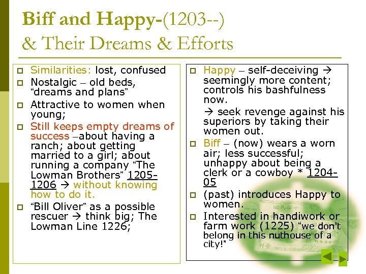 Biff and Happy-(1203 --) & Their Dreams & Efforts p p p Similarities: lost,