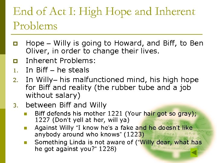 End of Act I: High Hope and Inherent Problems p p 1. 2. 3.