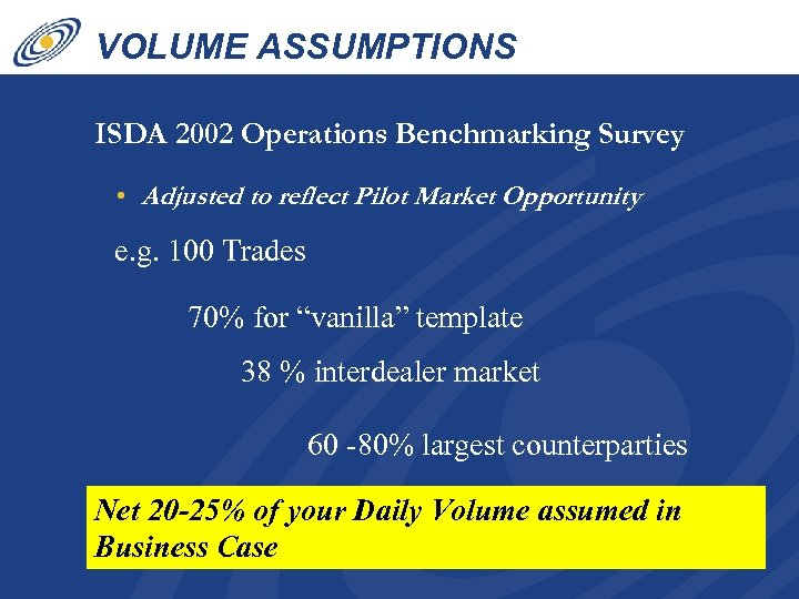 VOLUME ASSUMPTIONS ISDA 2002 Operations Benchmarking Survey • Adjusted to reflect Pilot Market Opportunity