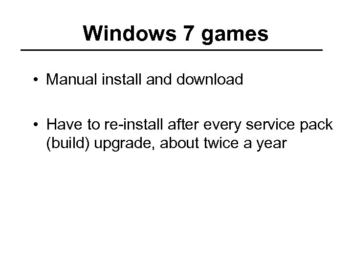 Windows 7 games • Manual install and download • Have to re-install after every