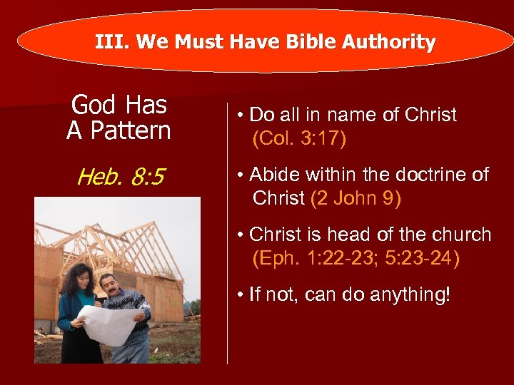 III. We Must Have Bible Authority God Has A Pattern Heb. 8: 5 •