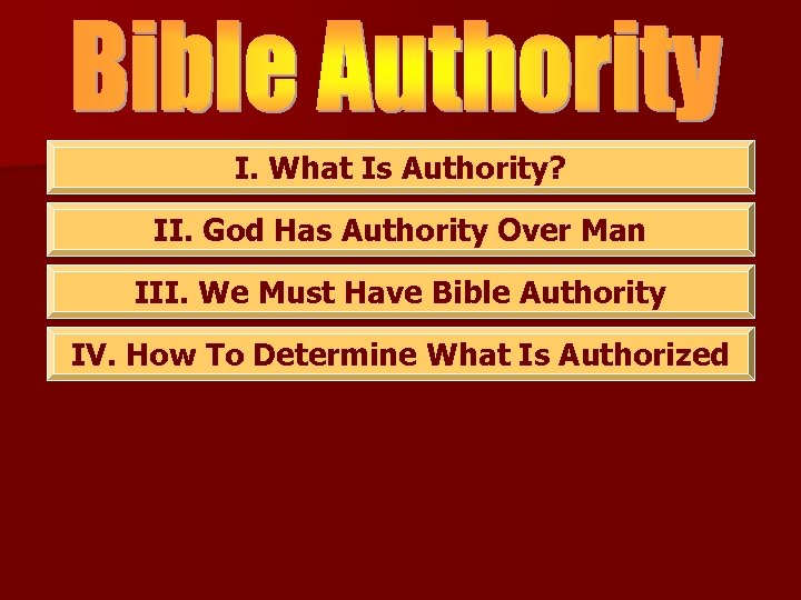 I. What Is Authority? II. God Has Authority Over Man III. We Must Have