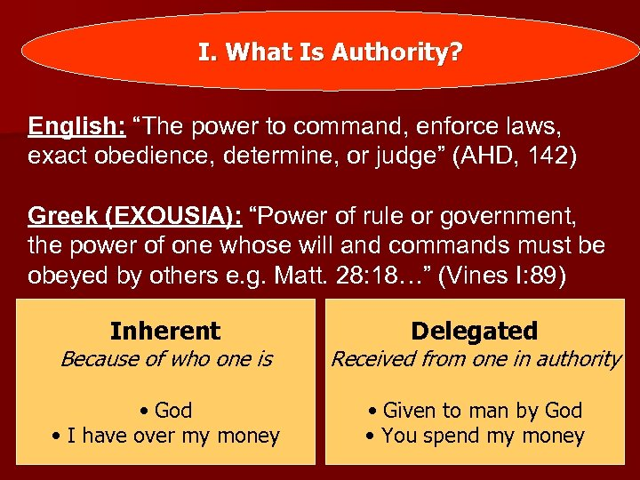 """I. What Is Authority? English: """"The power to command, enforce laws, exact obedience, determine,"""