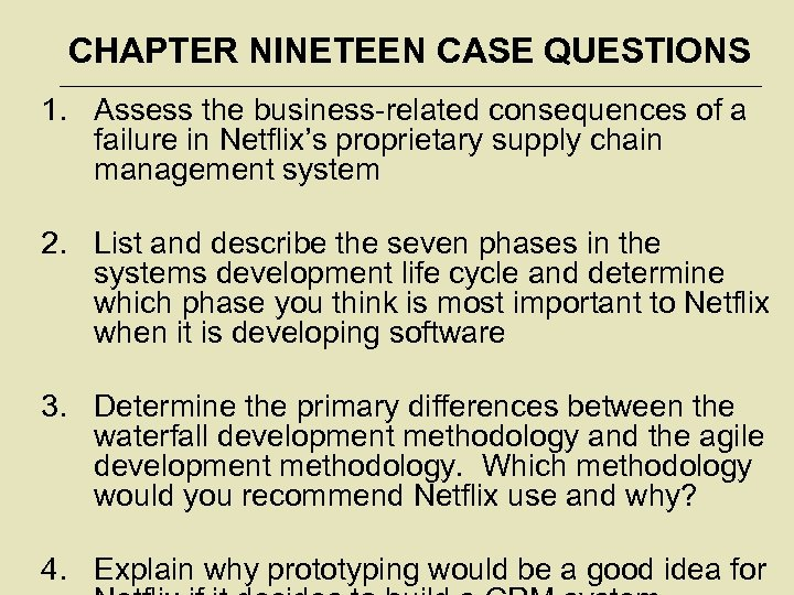CHAPTER NINETEEN CASE QUESTIONS 1. Assess the business-related consequences of a failure in Netflix's